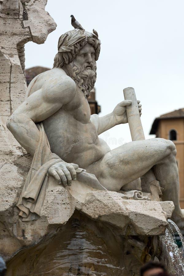 La fuente de los cuatro ríos - plaza Navona, Roma, fotografía de archivo libre de regalías