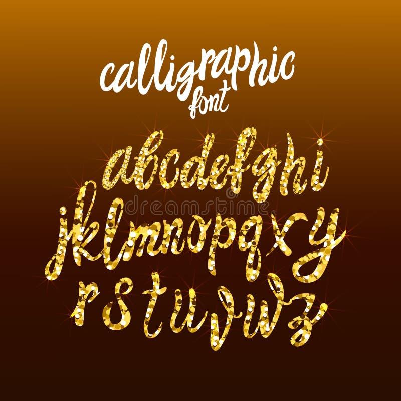 La fuente de oro caligráfica de la escritura, polvo de oro del VECTOR pone letras a la plantilla, textura del brillo stock de ilustración