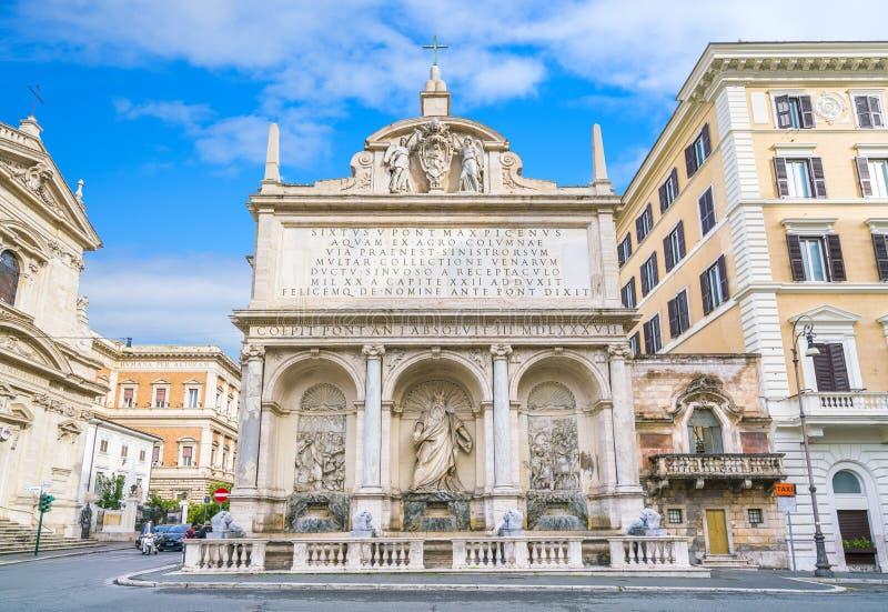 La fuente del Acqua Felice en Roma, Italia foto de archivo libre de regalías