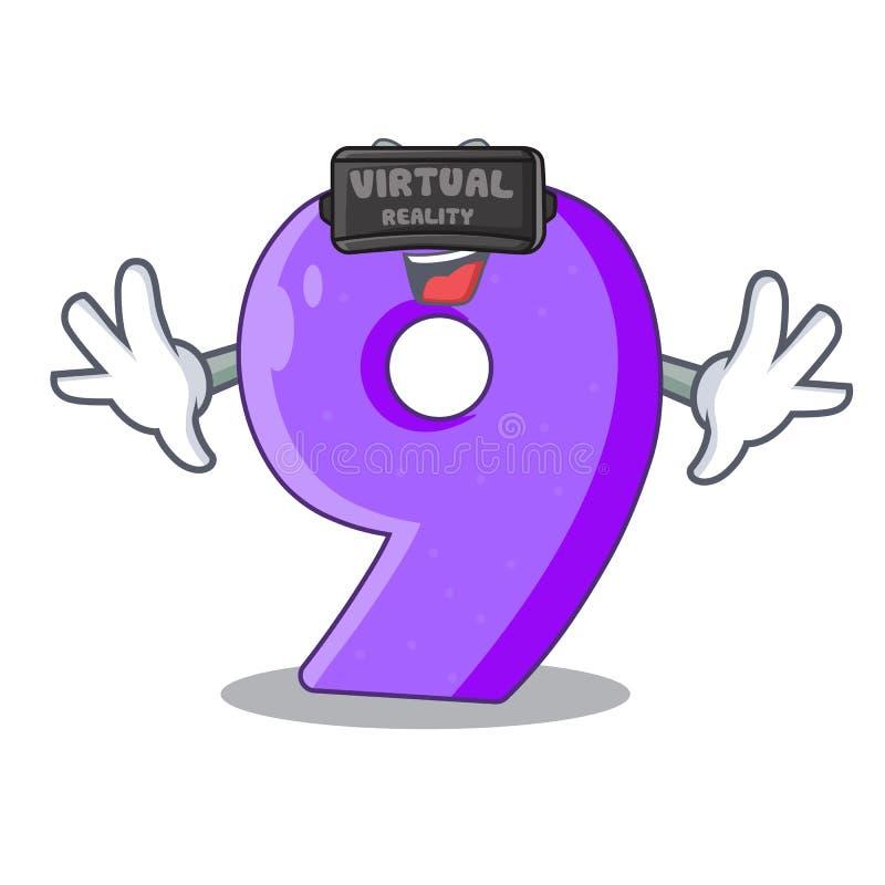 La fuente del globo del número nueve de la realidad virtual formó el charcter ilustración del vector