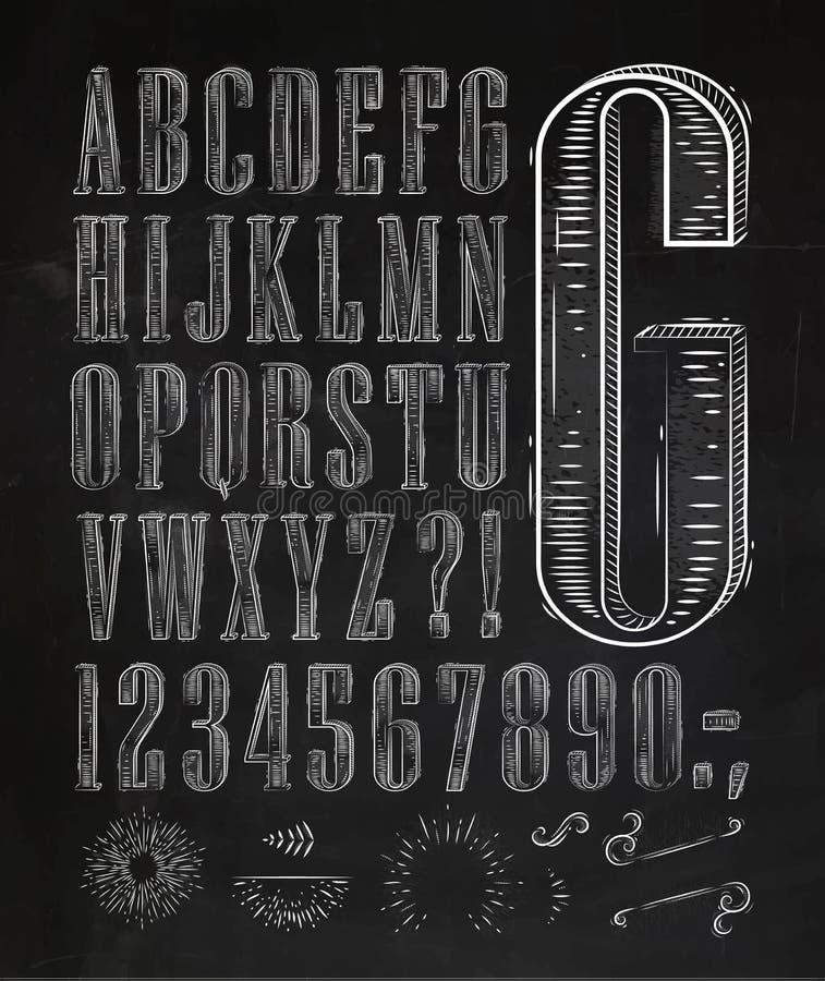 La fuente del vintage pone letras a tiza stock de ilustración