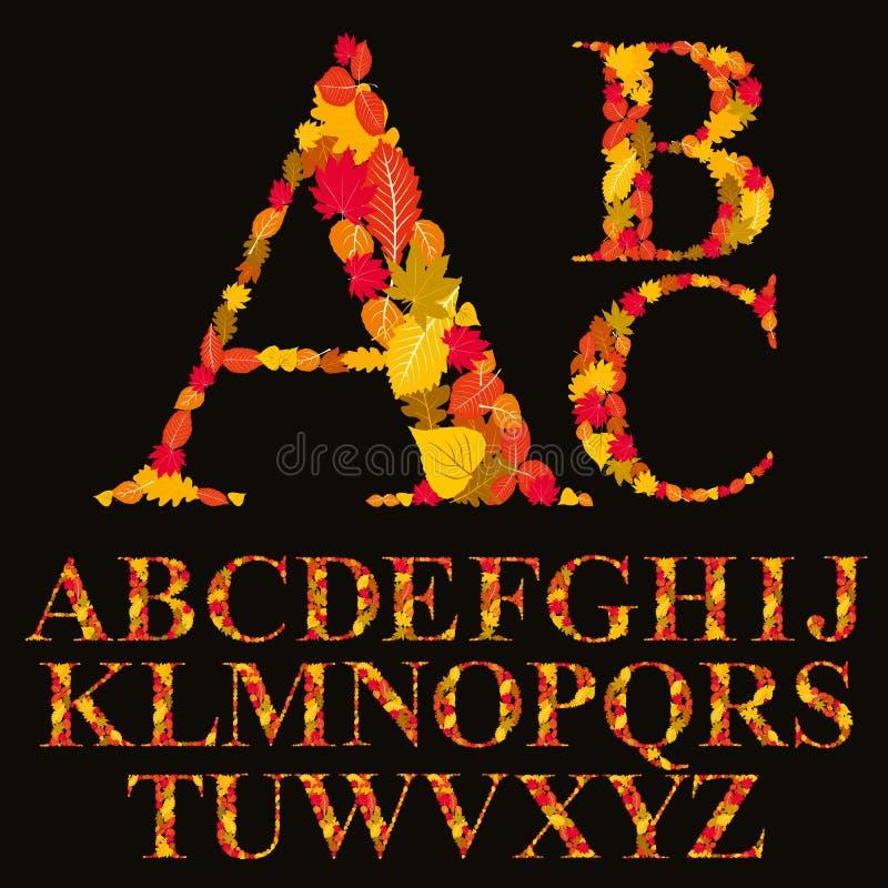 La fuente floral hecha con las hojas, las letras naturales del alfabeto fijó, vect stock de ilustración
