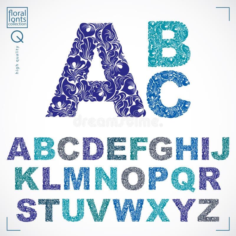 La fuente floral, las letras capitales del alfabeto del vector a mano adorna stock de ilustración