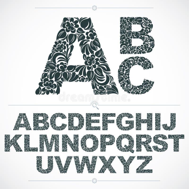 La fuente floral, las letras capitales del alfabeto del vector a mano adorna ilustración del vector