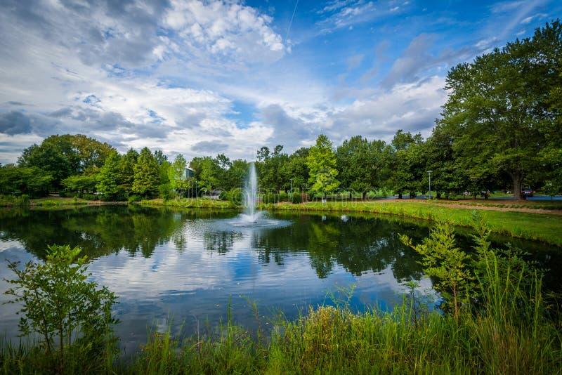 La fuente y el lago en la sinfonía parquean, en Charlotte, Carolina del Norte fotografía de archivo libre de regalías