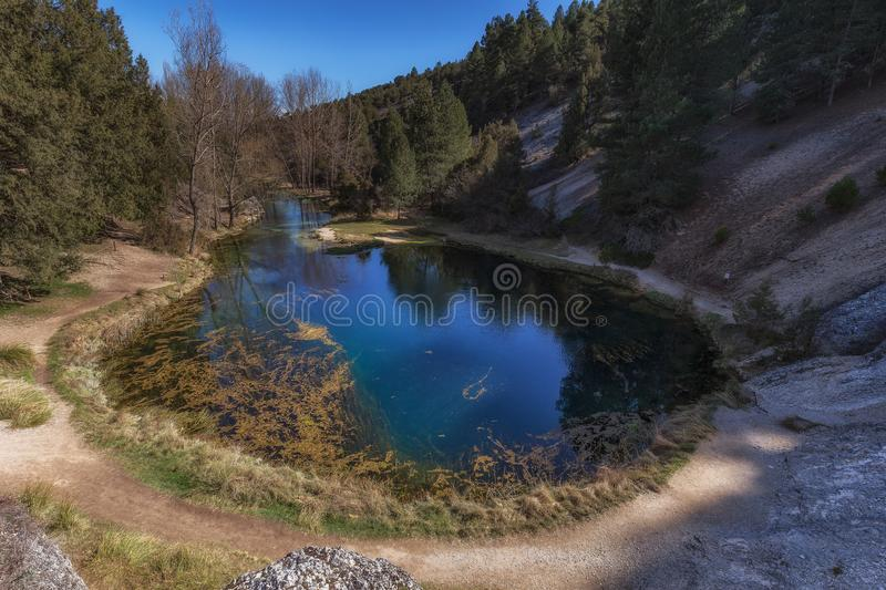La fuentona, abion river source of water. In Soria stock image