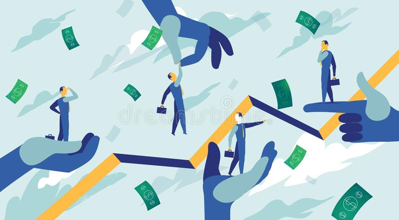 La fuerza de ventas intenta coger las oportunidades correctas del negocio libre illustration