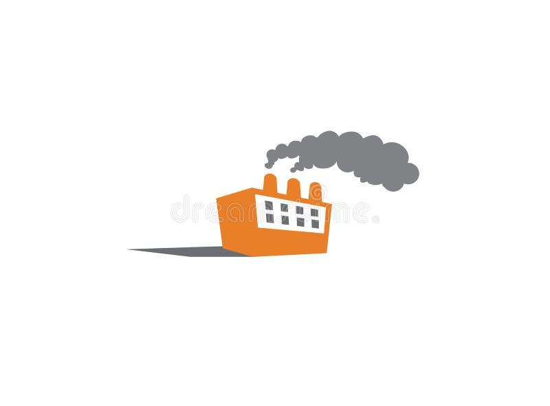 La fumée épaisse sort des cheminées d'usine pour la conception de logo illustration stock