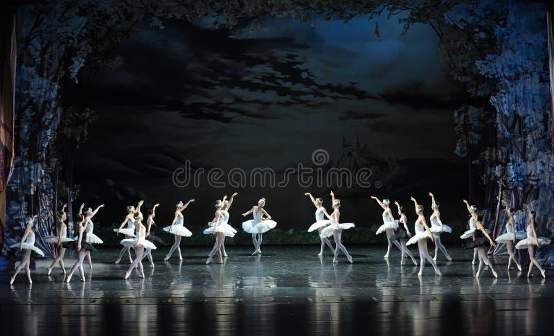La fumée de l'encens dans la scène de bout de lac-Le de cygne du lac swan de Lac-ballet de cygne photos stock
