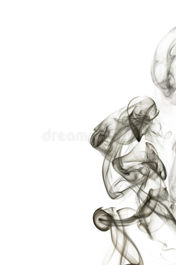 La fumée noire abstraite tourbillonne au-dessus du fond blanc image stock