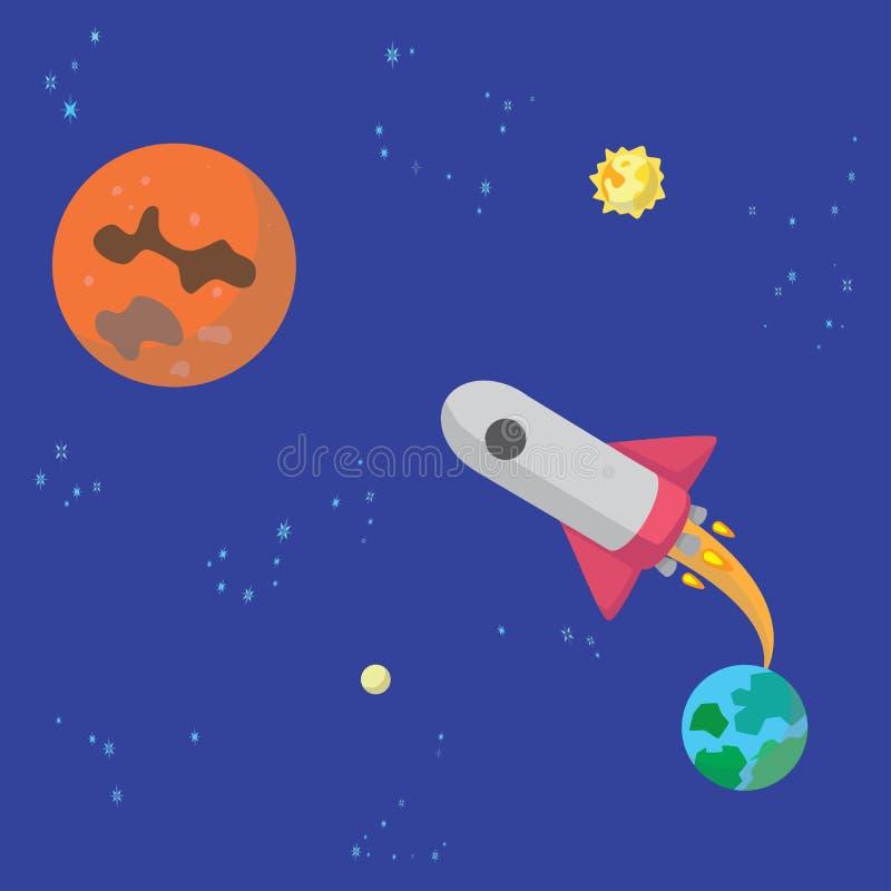 La fusée décolle de la terre à Mars illustration libre de droits