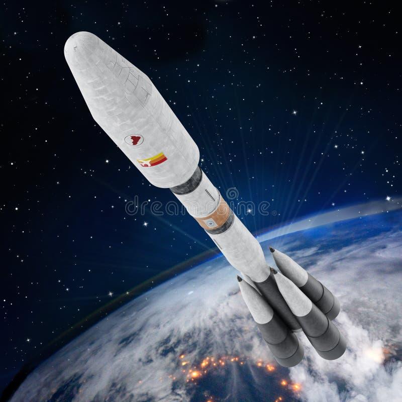 La fusée d'espace laisse l'atmosphère du ` s de la terre illustration 3D illustration libre de droits