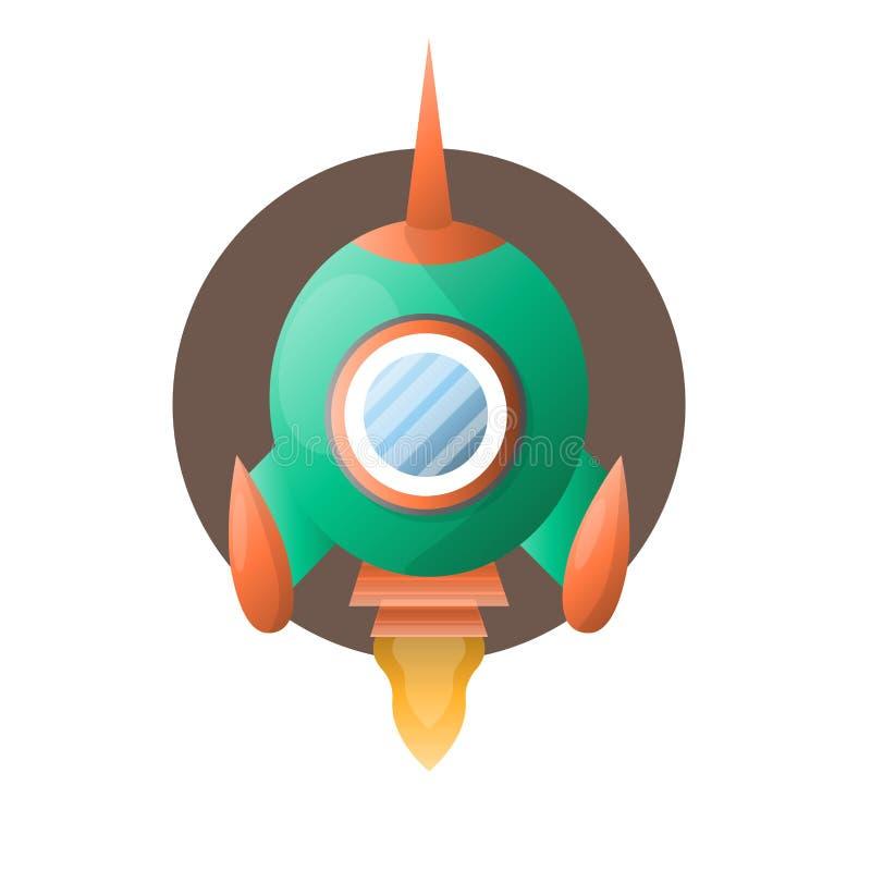 La fusée d'espace ronde avec l'extrémité pointue vole  illustration de vecteur