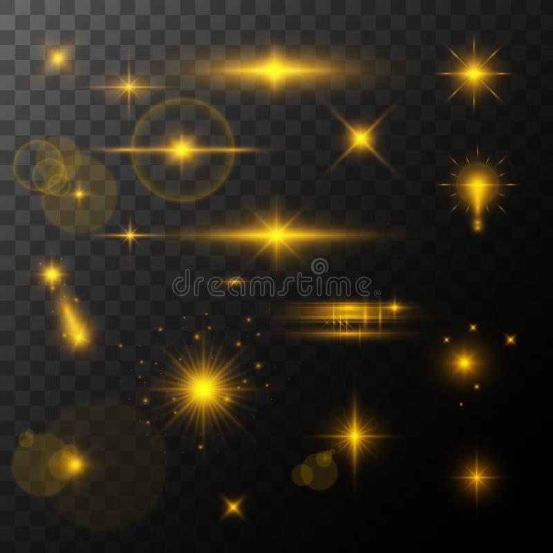 La fusée de lentille, rougeoient effet de la lumière le soleil ou étoile brillante réaliste avec un effet de point culminant scin illustration libre de droits