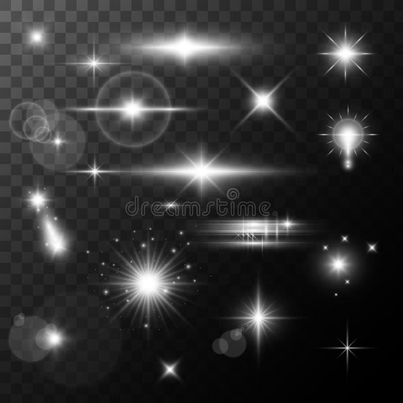 La fusée de lentille, rougeoient effet de la lumière le soleil ou étoile brillante réaliste avec un effet de point culminant scin illustration de vecteur