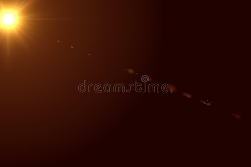 La fusée lumineuse de lentille de couleur chaude d'or rayonne le moveme léger de fuite d'instantanúx image stock