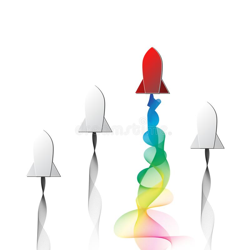 La fusée rouge de gain avec la propulsion par réaction colorée de spectre d'arc-en-ciel empaquettent l'art de coupe illustration libre de droits