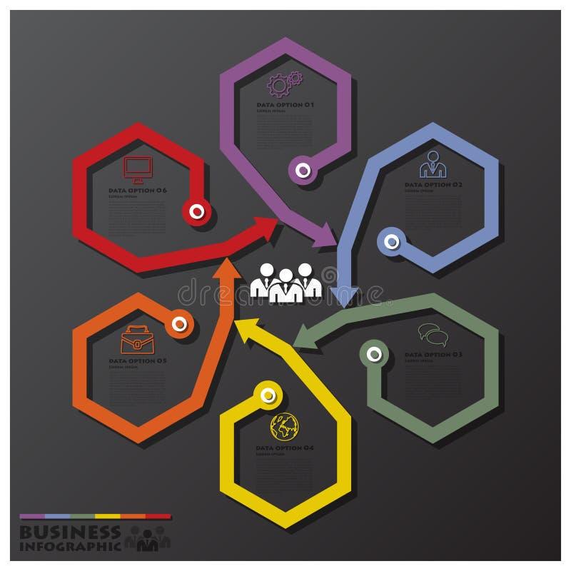 La fusión gira el hexágono y la línea negocio Infographic de las flechas ilustración del vector