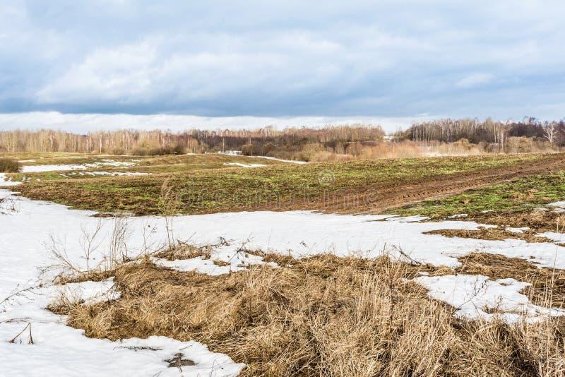 La fusione della neve sui campi in molla in anticipo, giorno soleggiato con cielo blu e nuvole fotografia stock libera da diritti