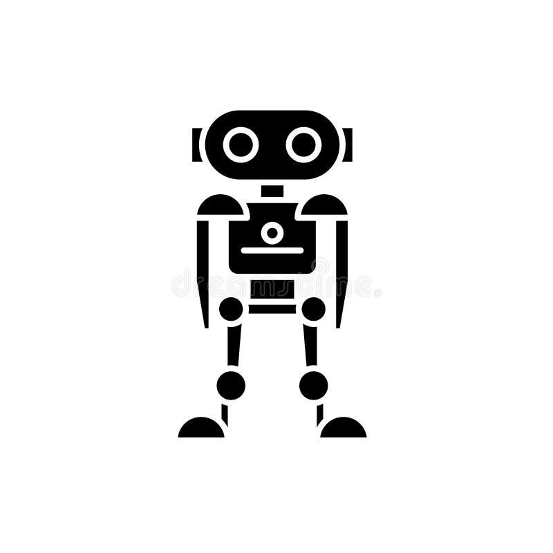 La future icône de noir de robot, dirigent pour se connecter le fond d'isolement Futur symbole de concept de robot, illustration illustration de vecteur
