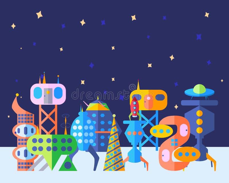 La future ville extraterrestre lumineuse a placé dans le style plat de bande dessinée illustration libre de droits