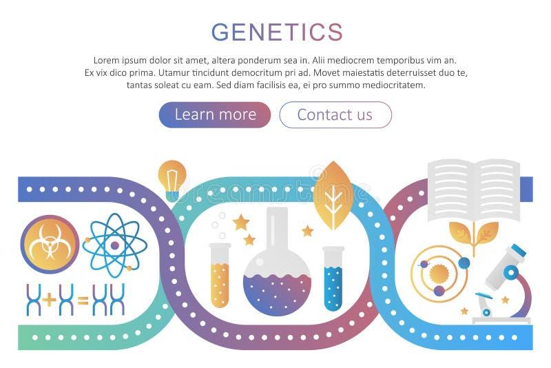 La génétique et la bio-ingénierie d'ADN recherchent l'illustration de concept de vecteur Couleur plate à la mode de gradient d'an illustration libre de droits