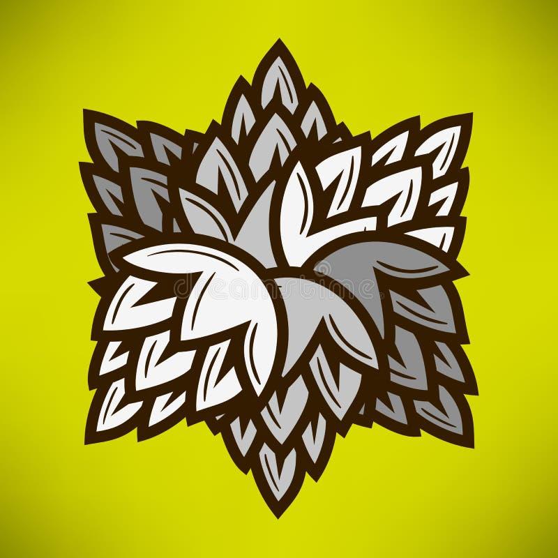 La géométrie d'étoile avec des houblon de bière Dessin de vecteur illustration de vecteur