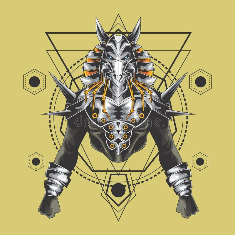 La géométrie sacrée d'anubis puissants illustration libre de droits