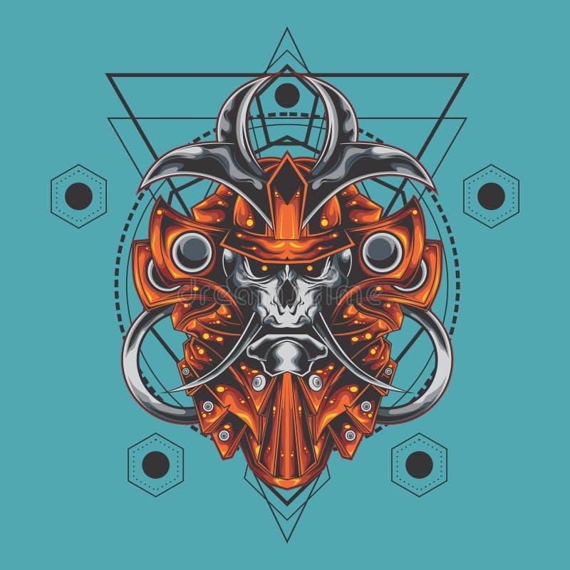 La géométrie sacrée de crâne samouraï final illustration libre de droits
