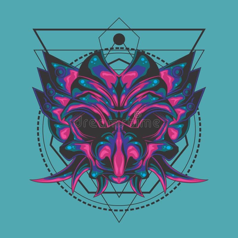 La géométrie sacrée de masque pointu de démon illustration de vecteur
