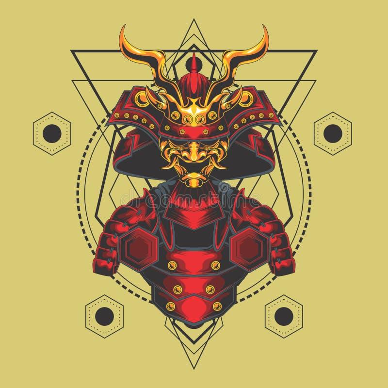 La géométrie sacrée rouge et d'or d'armure samouraï illustration libre de droits