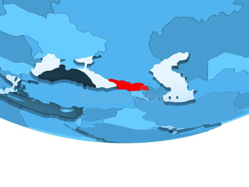 La Géorgie en rouge sur la carte bleue illustration stock