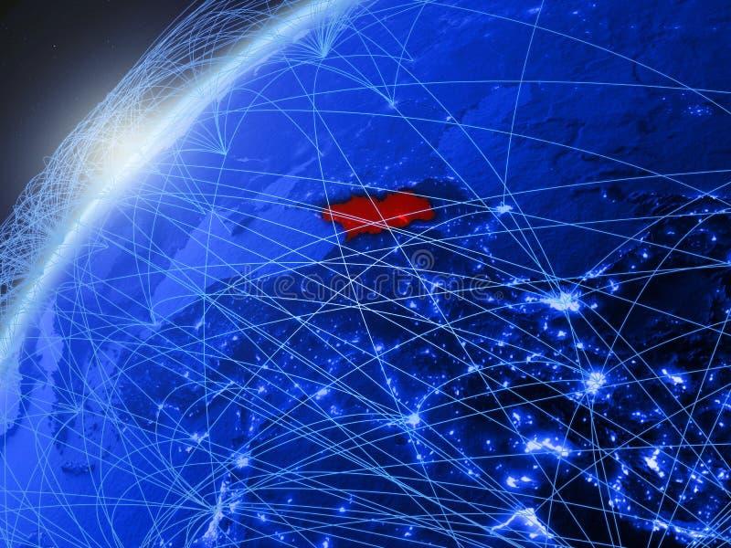 La Géorgie sur la terre bleue avec le réseau illustration de vecteur