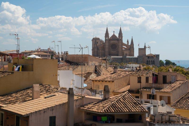 La gótico famoso Seu da catedral, Palma de Mallorca, Espanha fotografia de stock