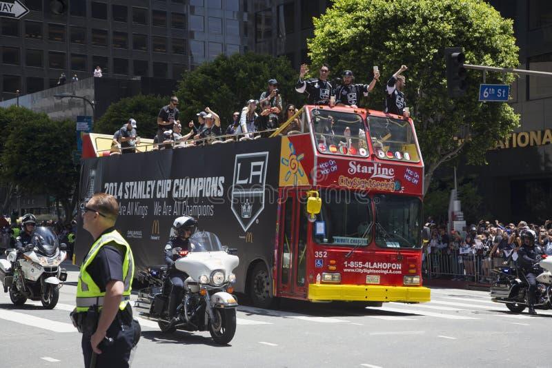 LA gör till kung 2014 Stanley Cup Victory Parade, Los Angeles, Kalifornien, USA royaltyfria foton