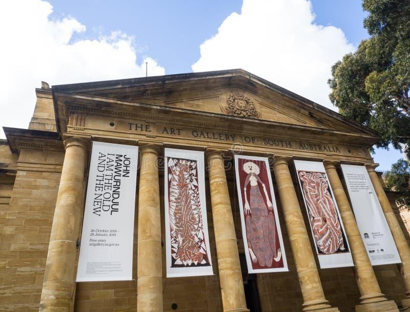 La galleria di arte dell'Australia Meridionale situata in situato in sul boulevard culturale del terrazzo del nord a Adelaide fotografia stock