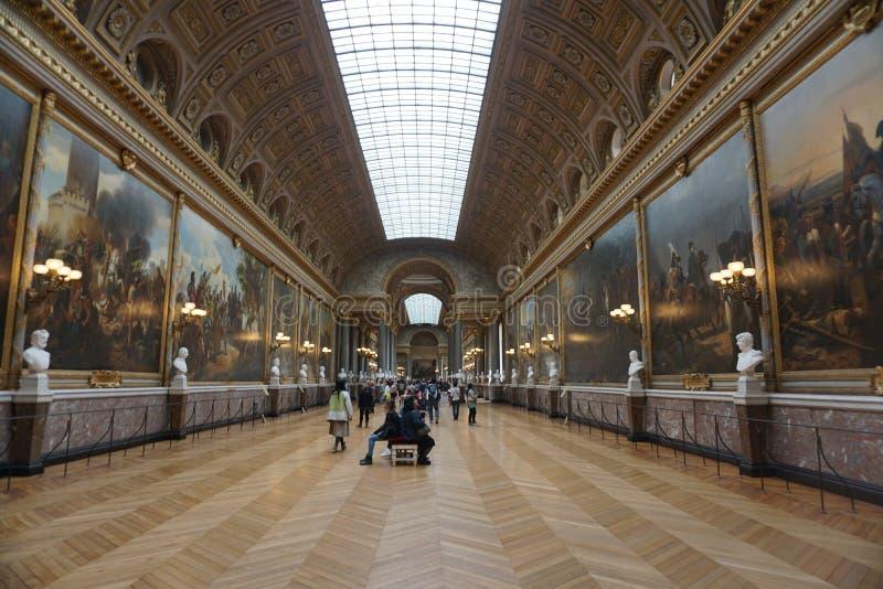 La galleria di battaglie nel Chateu di Versailles immagini stock libere da diritti