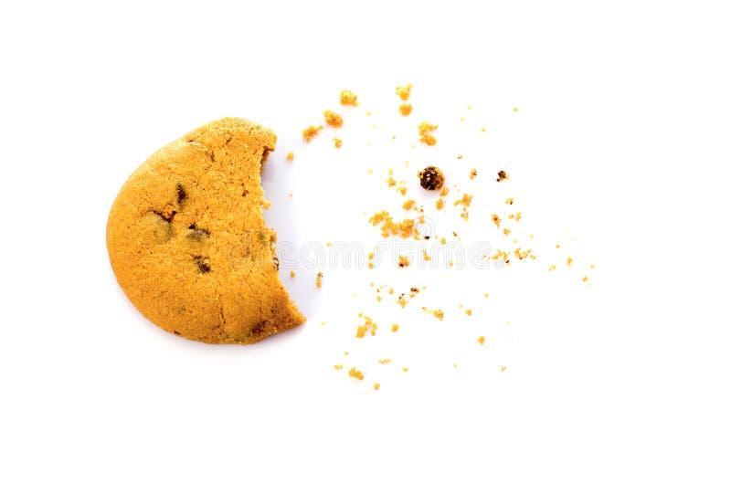La galleta con las migas por encima ve aislado en blanco fotografía de archivo libre de regalías