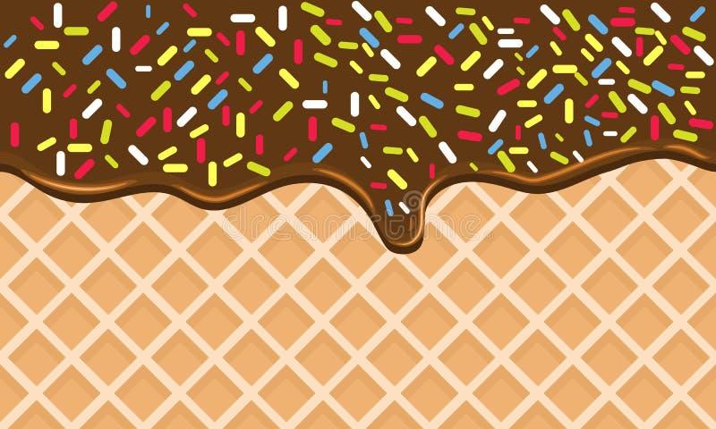La galleta curruscante del chocolate con crema que fluye y asperja ilustración del vector