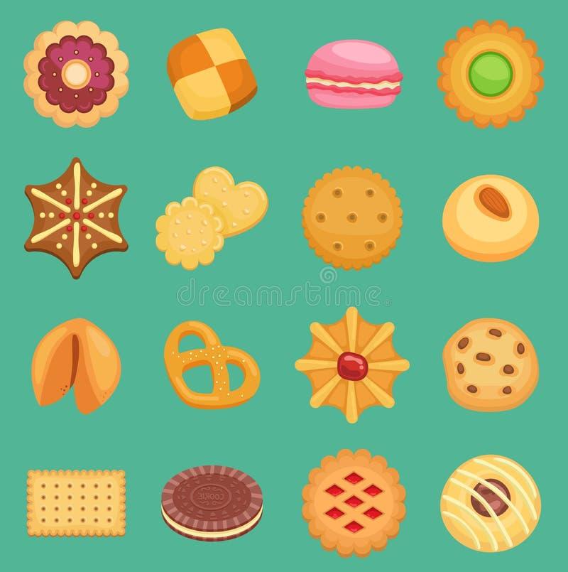 La galleta de los dulces del vector apelmaza el bocado sabroso delicioso con la galleta hecha en casa de los pasteles de la crema ilustración del vector
