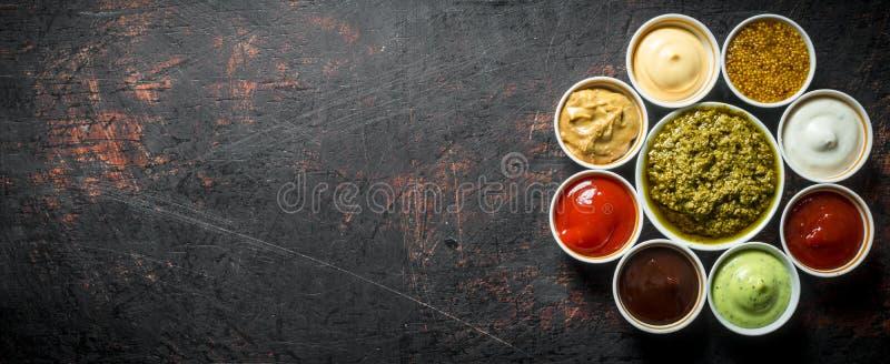 La gama de diversas salsas foto de archivo