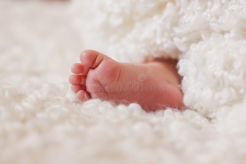 La gamba del bambino ? avvolta in un plaid riccio fotografia stock
