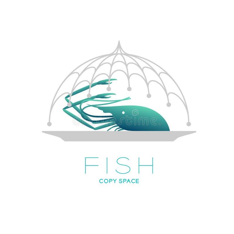 La gamba y la placa en comida del marco de la curva de la red de pesca cubren la forma, ejemplo del diseño determinado del icono  ilustración del vector