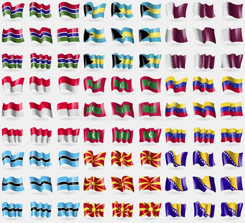 La Gambie, Bahamas, Qatar, Monaco, Maldives, Venezuela, Botswana, république de Macédoine, Bosnie-Herzégovine Grand ensemble de 8 illustration stock