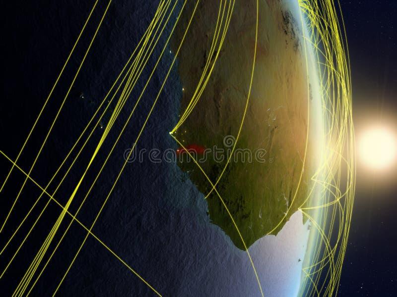 La Gambie sur la terre reliée au réseau de planète image libre de droits