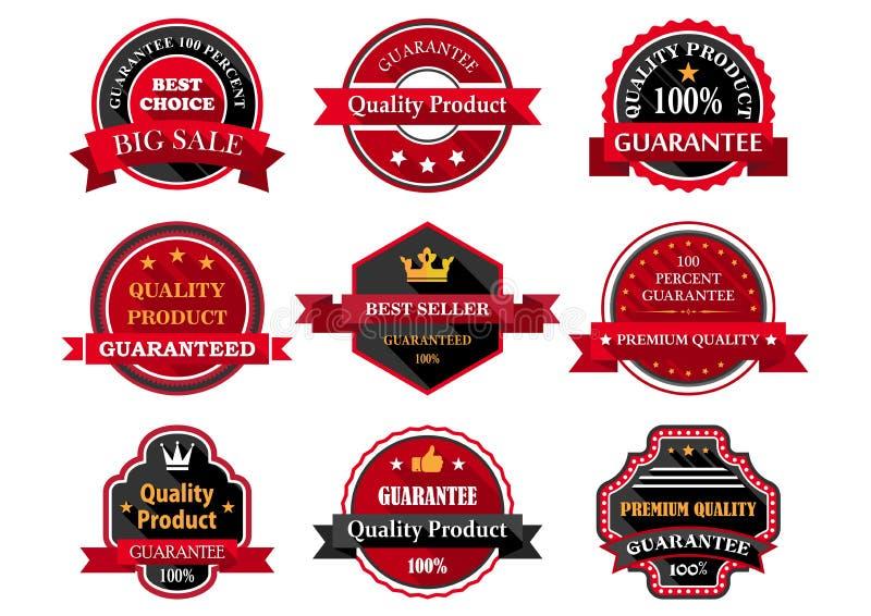 La garantie plate de produit de qualité badges ou des labels illustration libre de droits