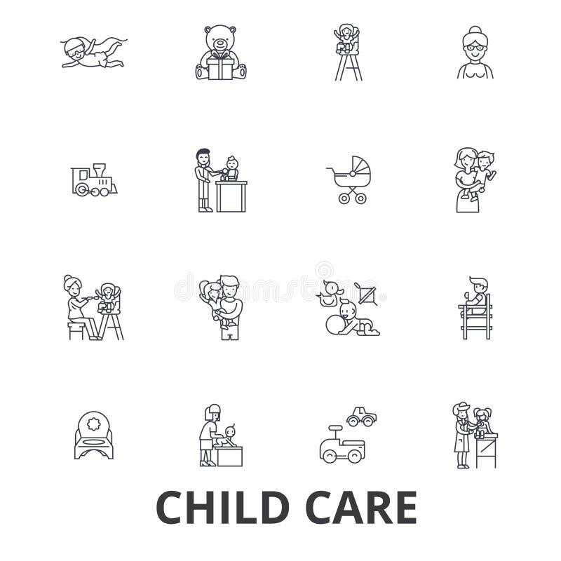 La garde d'enfants, babysitter, école maternelle, bonne d'enfants, crèche, badine jouer, ligne icônes de service de garderie Cour illustration stock