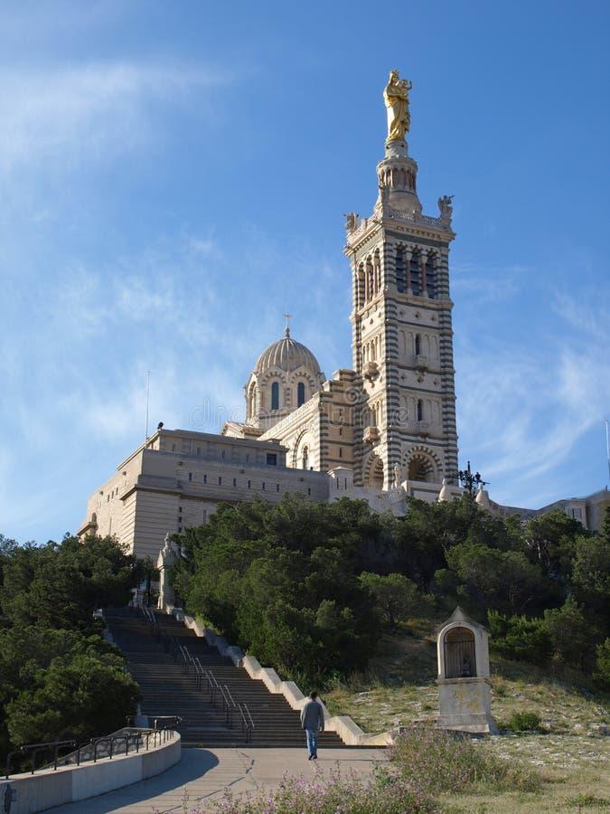 La Garde de Notre Dame de de la catedral de Marsella foto de archivo