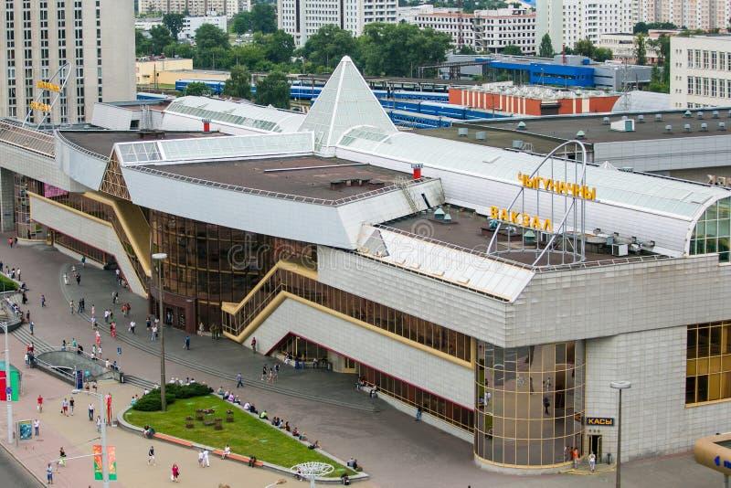La gare ferroviaire centrale à Minsk a regardé à partir du dessus photographie stock libre de droits