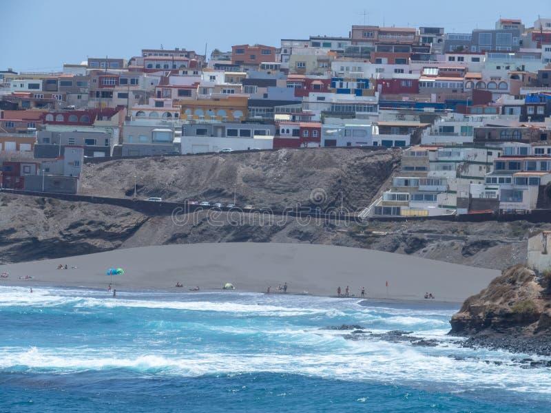 La Garita beach, Gran Canaria. Gran Canaria/Spain - August 15 2019: La Garita is one of the most popular beaches in the municipality of Telde stock photography